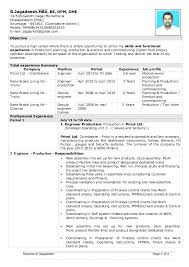 Sample Resume For Mechanical Production Engineer Production Resume