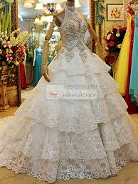 rhinestone wedding dress. Princess High Neck Tiered Court Train Lace Sequin Rhinestones