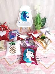 Buy <b>Fish scale sequins</b> pillow Cover Unicorn turnover <b>creative</b> ...