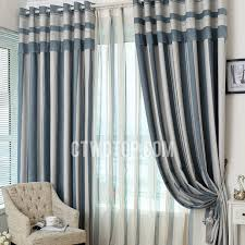 blue and grey vertical striped panel curtains