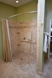 Handicapped Accessible Shower Roll-in shower. Curved rod increases space.