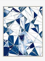 on blue and white wall art with large abstract blue white triangles wall art