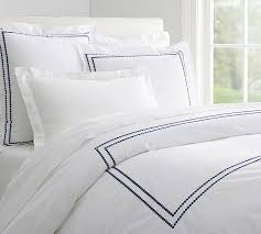 hotel collection ladder stitch white european 100 pearl embroidered 280 thread count duvet cover sham pottery barn