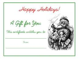 Holiday Gift Card Template Personalized Gift Certificates Template Free Free Holiday Gift
