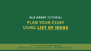 essay writing tutorial writing essay essay tutorial yearessay  als essay tutorial plan your essay using list of ideas als essay tutorial plan your essay