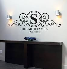 on personalised family name wall art with personalised family name monogram wall art decal