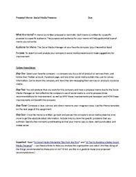 Business Memo Format Business Writing Social Media Proposal Memo