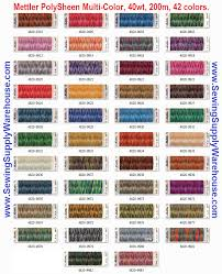 Mettler Thread Color Chart Free Mettler Polysheen Multi Color 40wt Polyester Embroidery