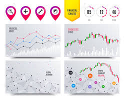 Financial Planning Charts Magnifier Glass And Globe Search Icons