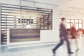 Wooden office Rich 85308341whitewallandwoodenoffice interiorwithareceptioncounterandaconferenceroominthebackgroujpg 123rfcom White Wall And Wooden Office Interior With Reception Counter
