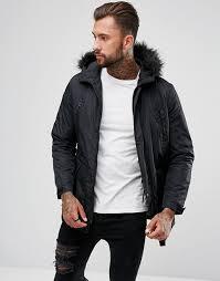 asos design parka jacket with faux fur trim in black black men s jackets d3ajdiid