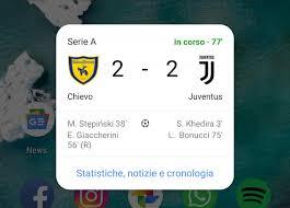 Google vi mostra i risultati di calcio con un widget ...
