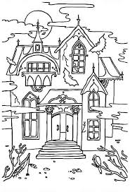 Small Picture Haunted House with Sound of Crow Coloring Page Haunted House with