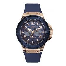 guess men s jet black dial yellow gold pvd case black strap watch guess rigor men s blue sillicone strap watch