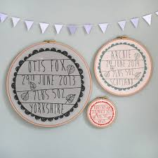 personalised baby birth hoop frame by modo creative