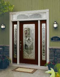 odl expressions glass 22x64 fiberglass exterior door with 2x 7x64 fiberglass sidelite and transom example