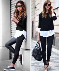 leather leggings with cropped sweater