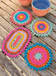 Crochet Patterns ANNIE'S SIGNATURE DESIGNS Color Burst Coasters Fascinating Crochet Patterns