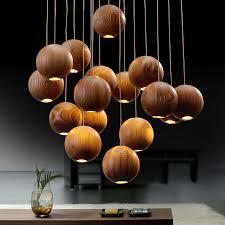 modern wooden ball chandelier