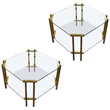 pair of two tier glass coffee tables for table 2 swivel id f two tier brass and glass coffee table
