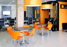 office orange. Office With Color That Brighens Up The Space. Orange A