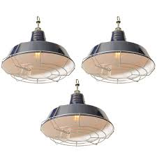 USA Blue Industrial Enamel Shade Cage Pendant Lights For Sale at 1stdibs