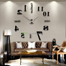 home design modern diy large wall clock 3d mirror effect sticker decal home with 81