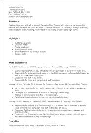 Political Campaign Resume Sample