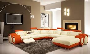 living room red sofa attractive white wall brown sofa standing floor lamp cool blue color elegant