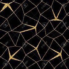 Mozaïek Geometrische Naadloze Patroon 3d Gouden Glitter Zwart
