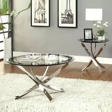 glass coffee table and end tables nickel round tempered glass top chrome legs cocktail coffee table