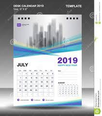 Calendar Design August Desk Calendar 2019 Template Flyer Design Vector