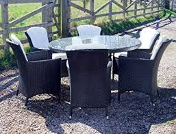 harts premium round rattan dining set with 6 chairs for outdoor garden patio furniture brown