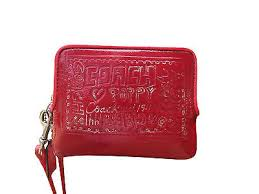 Coach Poppy Ruby Red Patent Leather Graffiti Wristlet Wallet No. 42868