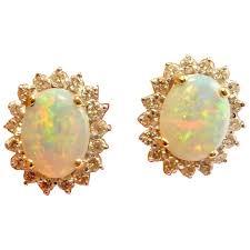 natural australian opal cabochon earrings crystal opal diamond earrings 14k yellow gold opal diamond stud studs