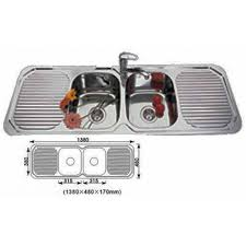 euro double bowl double drainer kitchen sink 1380x480mm stainless steel
