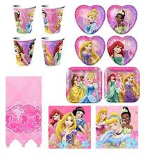 Disney Very Important Princess Dream Deluxe Party Supplies Pack Including Plates, Napkins, Cups and Tablecover - 16 Guests