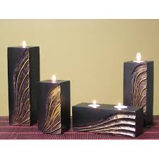hand carved gold wave candle holders set of 4 carved solid mango wood