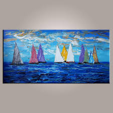 original wall art sailing boat painting seascape painting wall art large artwork  on modern canvas painting wall art with original wall art sailing boat painting seascape painting wall