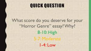 writing self assessment and reflection activity quick question  quick question what score do you deserve for your horror genre essay