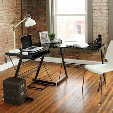 l shape computer writing desk black clear glass metal office furniture