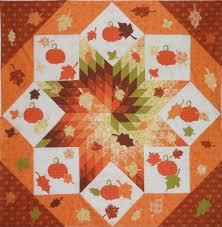 Fall Frenzy: Spiral Lone Star quilt pattern with pumpkins and ... & Fall Frenzy: Spiral Lone Star quilt pattern with pumpkins and autumn leaves  by Pink Hippo Adamdwight.com