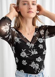 <b>Sheer</b> Floral <b>Ruched</b> Top - Floral - Tops - & Other Stories