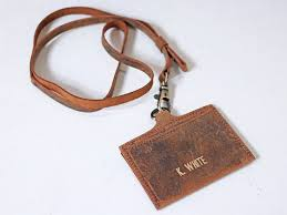 personalised leather id card holder with lanyard