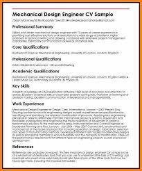 Mechanical Engineering Cv Format Mechanical Design Engineer Cv
