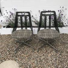 mid century lucite and stainless steel dining chairs pair