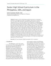 PDF) Senior High School Curriculum in the Philippines, USA, and Japan