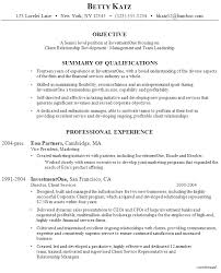 Example Resume Senior Management Investment firm Client Relations ...