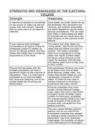 the electoral college s strengths and weaknesses document in a  preview of page 1 strengths and weaknesses of the electoral college