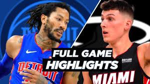 PISTONS vs HEAT FULL GAME HIGHLIGHTS ...